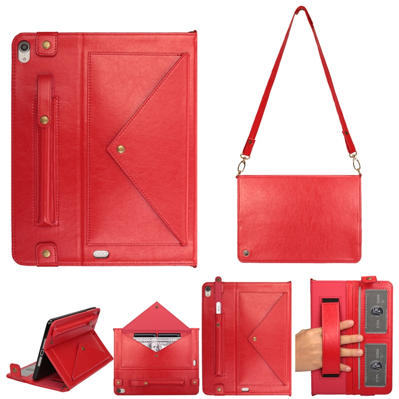 Leather iPad Pro 11 Case (2018) With Pen Holders, Slim Profile, Shoulder Strap (Red)