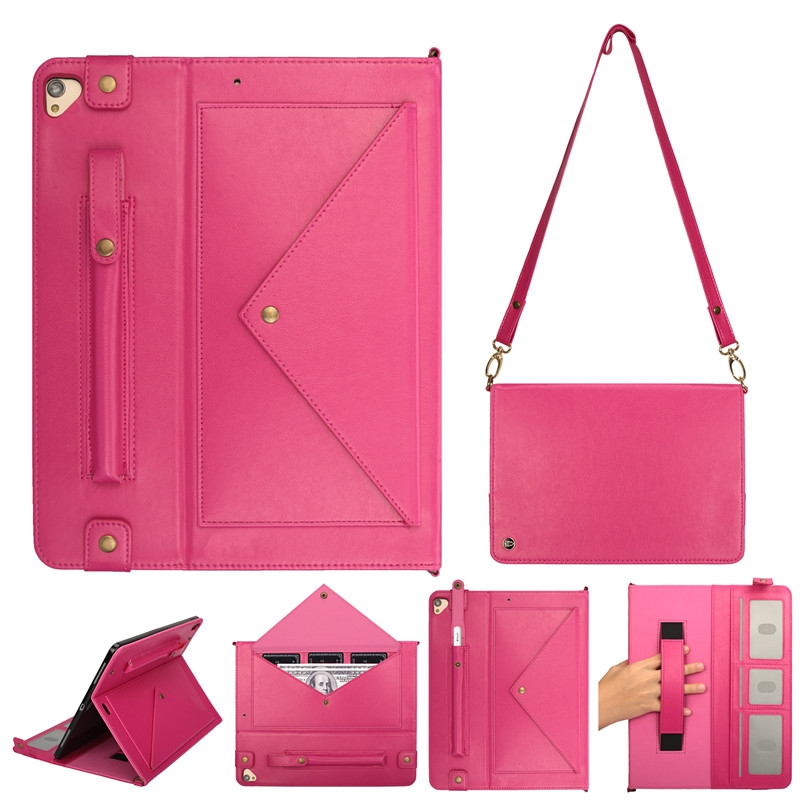 Leather iPad Pro 12.9 Case (2017) With Pen Holders, Slim Profile & Shoulder Strap (Rose)