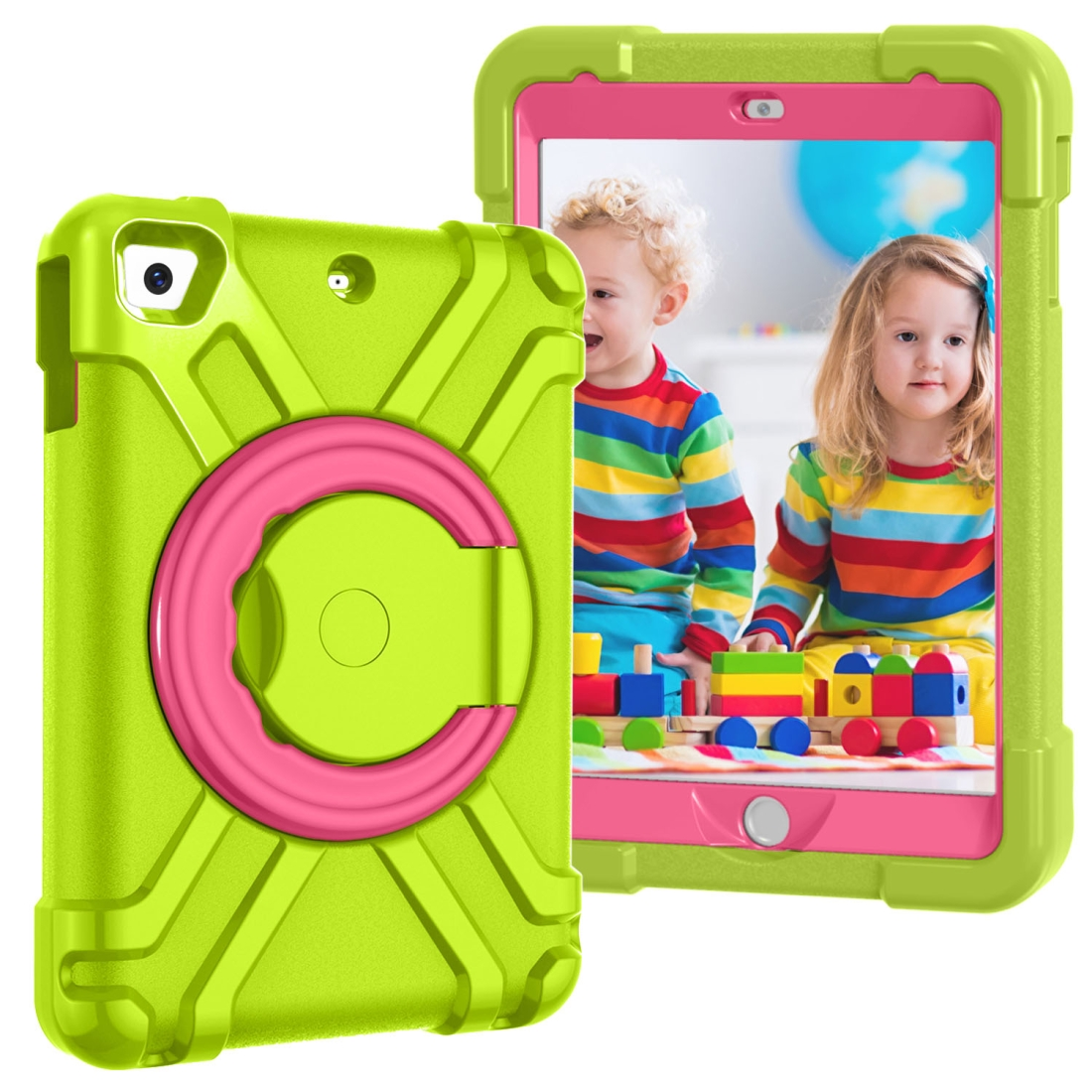 iPad Mini Case For Kids, Fits iPad Mini & Mini 2 & 3, Durable Protective Case (Grass Green/Rose Red)
