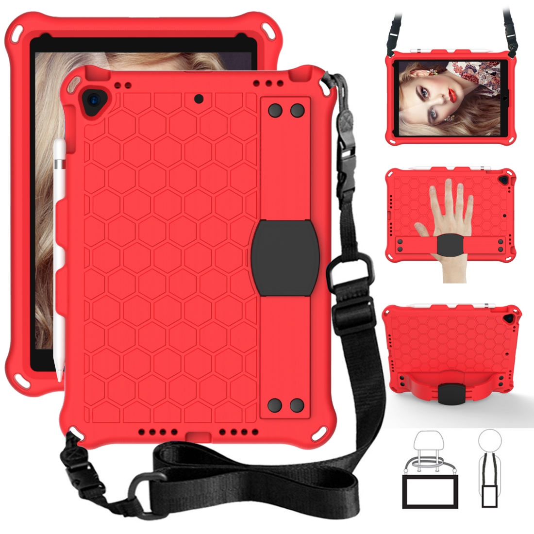 iPad Air 2 Case (2019)/ 10.5 Honeycomb Design Four Corner Protective Shell With Straps (Red/Black )