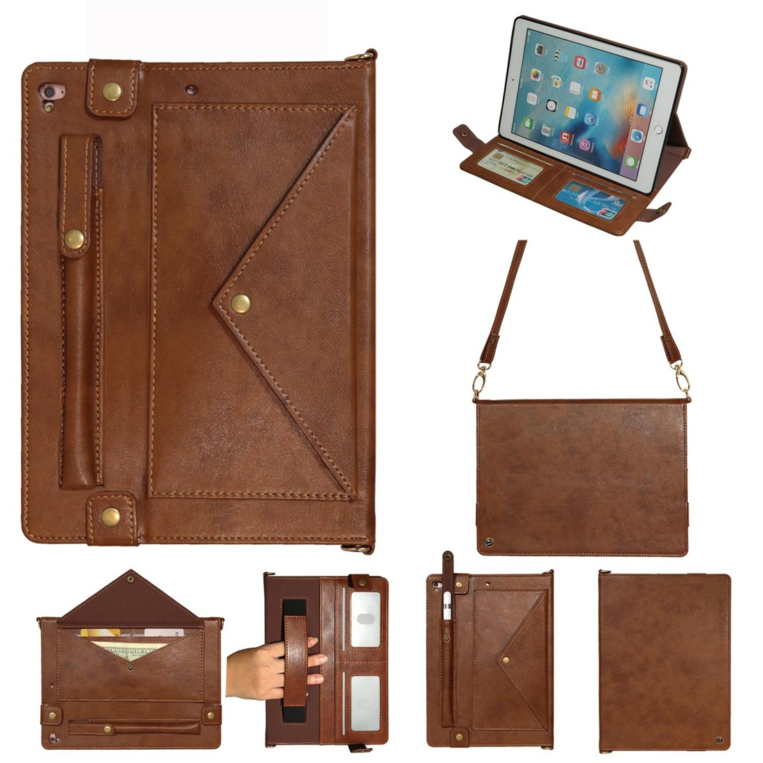 Leather iPad 9.7 Case (2018)/(2017), Air/ Air 2/ Pro 9.7 inch, Pen Holders & Strap (Coffee)