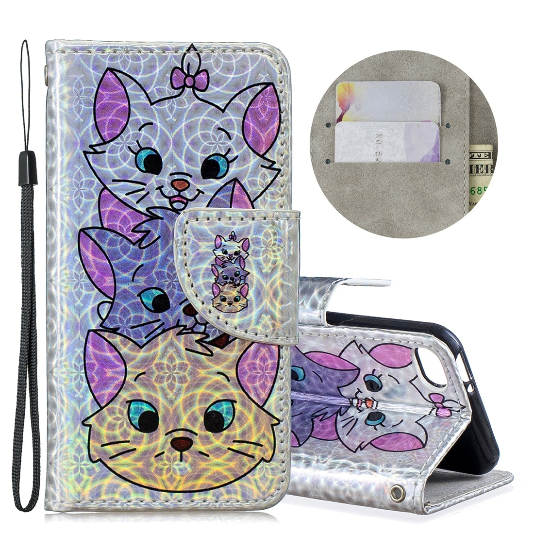 Dazzle Colorful Leather Case w/ Slim Profile & Lanyard For iPod Touch 5/6 (Three Cats)