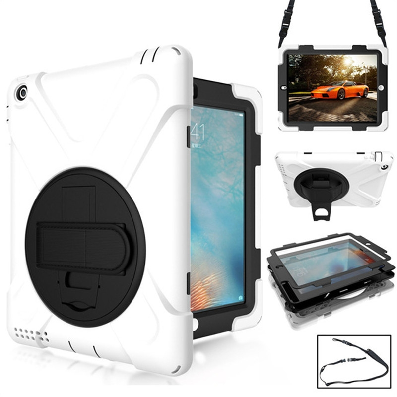 iPad 4th Generation Case Fits iPad 2,3,4, Rotating Silicone Protective Cover And Straps (White)