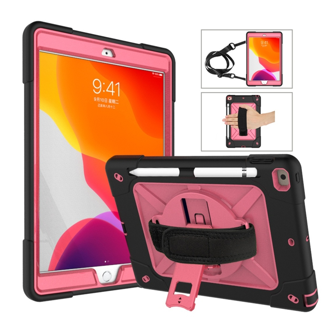 iPad 7th Generation Case (10.2 Inch) Contrasting Color Tough Durable Armor Case (Black/Rose Red)