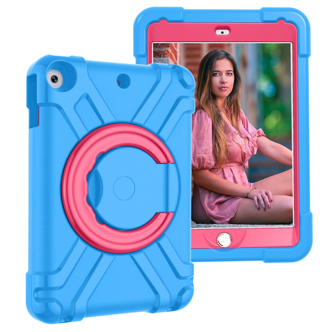 iPad 7th Generation Case (10.2 Inch) Featuring A Durable Case With 360 Rotation (Blue/Rose)