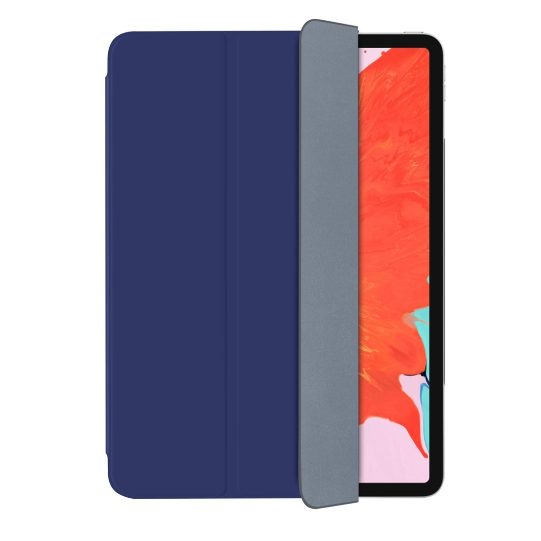 Magnetic Leather iPad Pro 12.9 Case (2018) with Folding Holder & Auto Sleep (Blue)