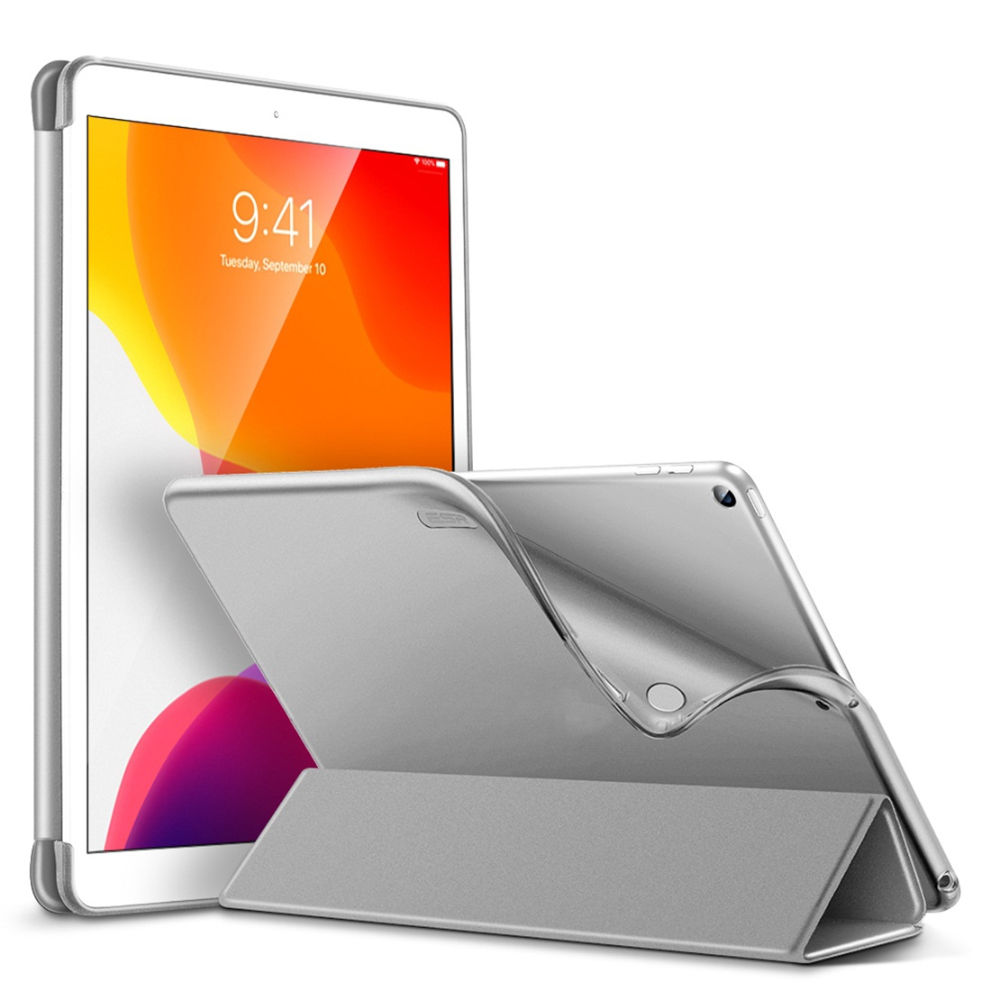 iPad 7th Generation Case (10.2 Inch) Features A Designer Style Leather Cover & Auto Sleep (Grey)