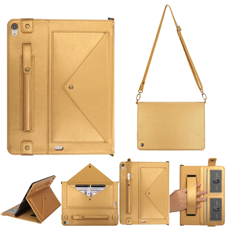 Leather iPad Pro 11 Case (2018) With Pen Holders, Slim Profile, Shoulder Strap (Gold)
