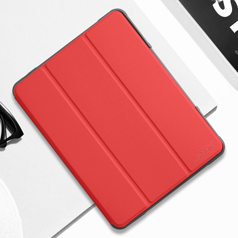 iPad Air 3 Case (10.5 Inch) Protective Durable Leather Case with Pen Holder (Red)