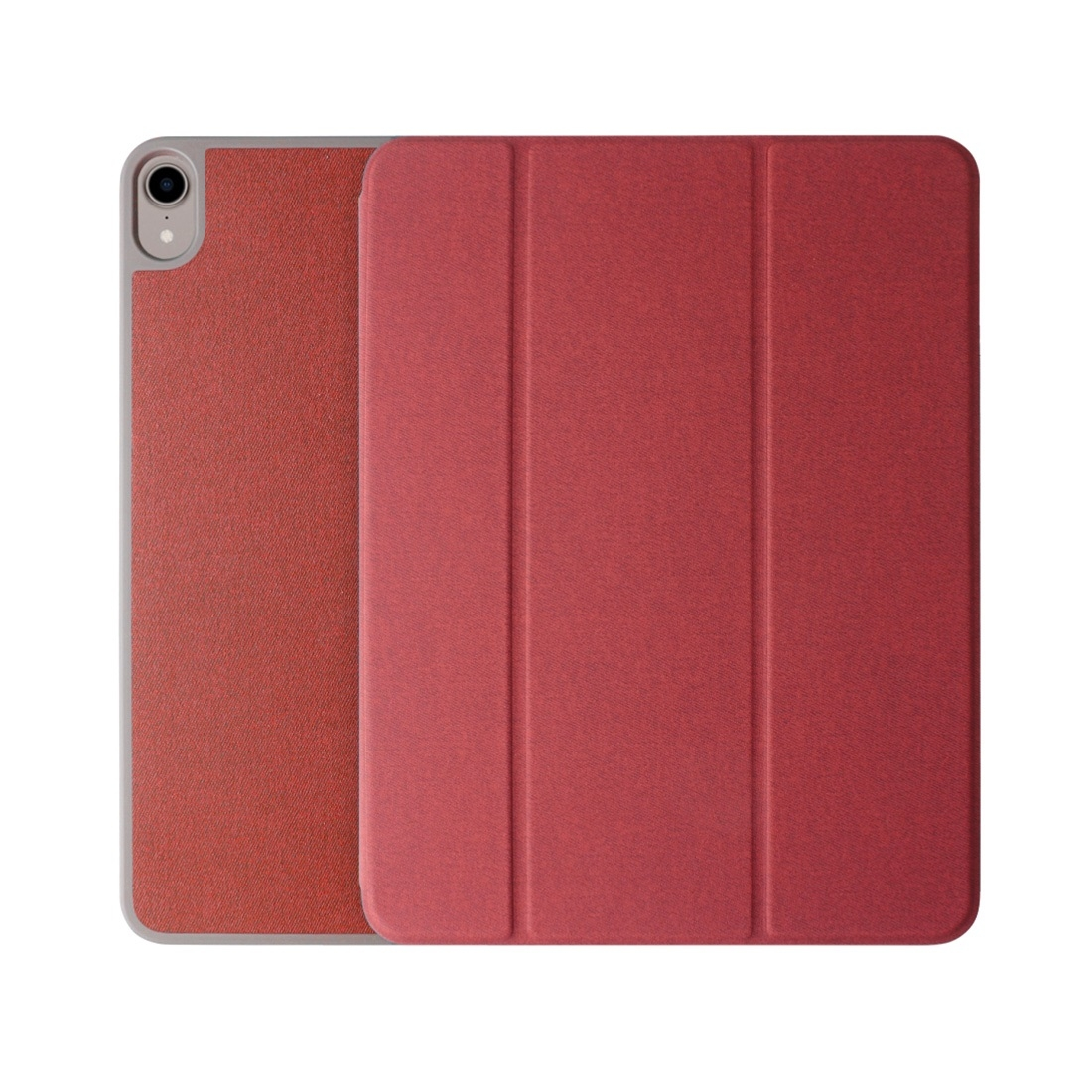 PU/Leather iPad Pro 11 Case (2018), w/ 3-Fold Holder, Pen Holder, Auto Sleep (Red)