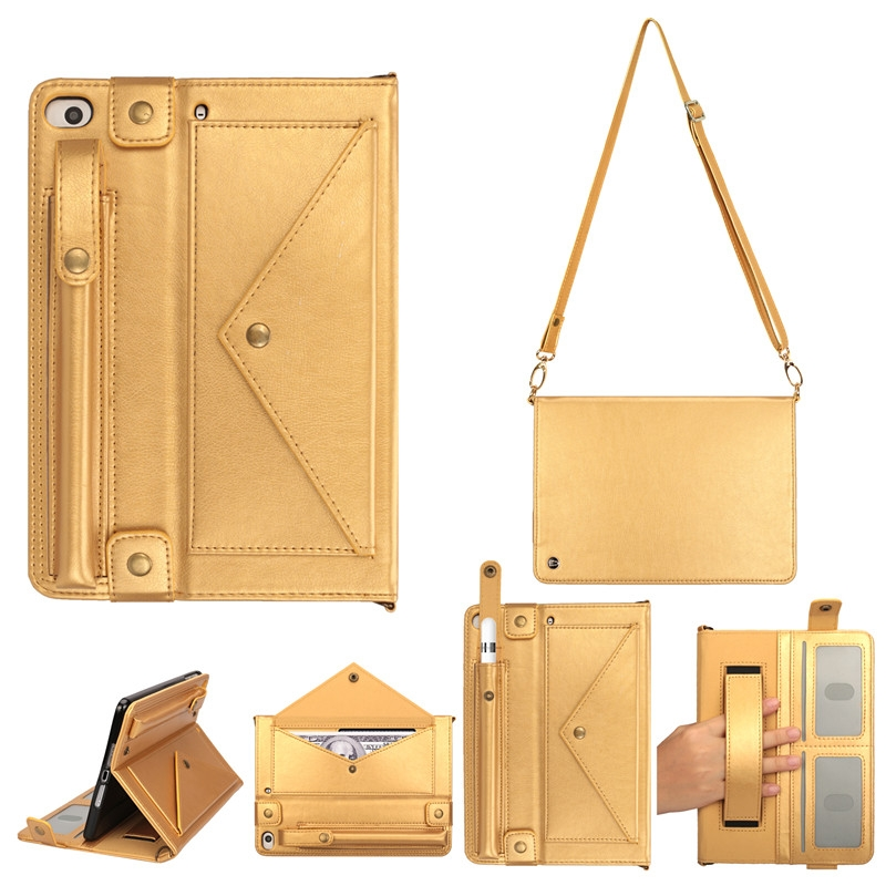 iPad Mini 5 Case For iPad 1,2,3,4 & 5, In A Protective Leather Cover, With Shoulder Strap (Gold)