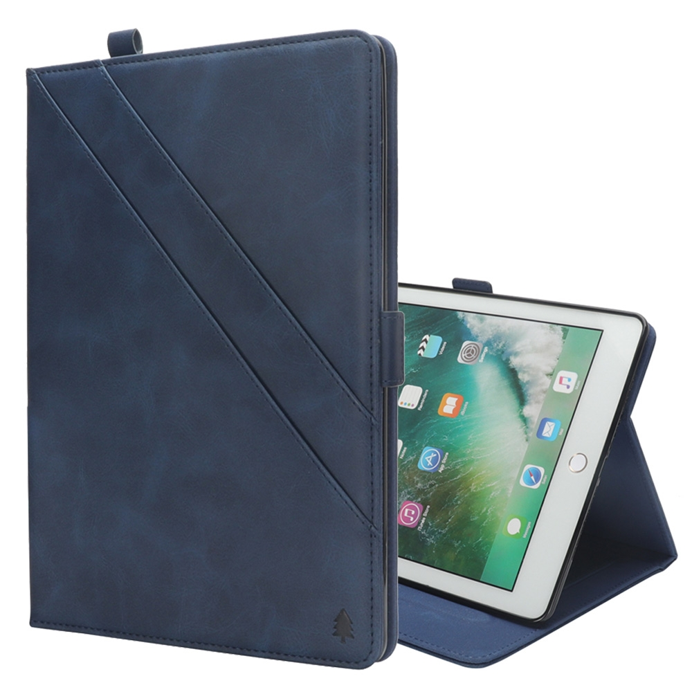 Bi-Stand Leather iPad Pro 12.9 Inch Case (2017)/ (2015), w/Sleeves, Frame, Pen Holder (Blue)