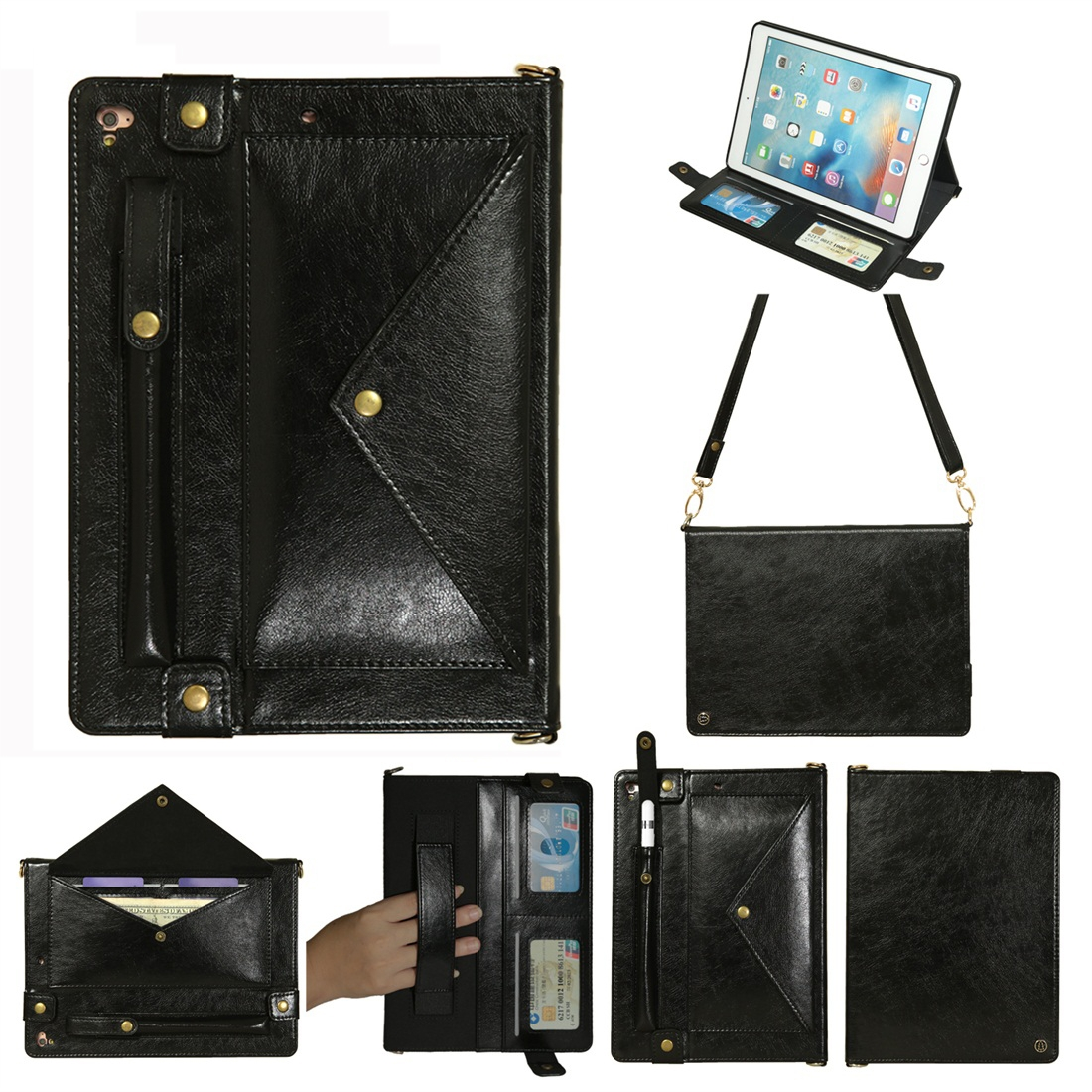 Leather iPad 9.7 Case (2018)/(2017), Air/ Air 2/ Pro 9.7 inch, Pen Holders & Strap (Black)