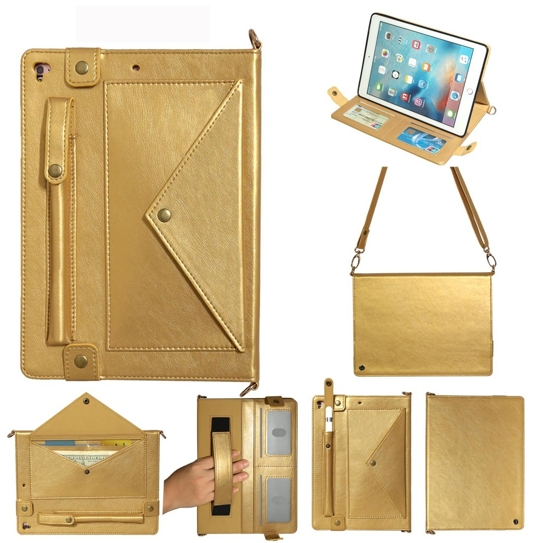 Leather iPad 9.7 Case (2018)/(2017), Air/ Air 2/ Pro 9.7 inch, Pen Holders & Strap (Gold)