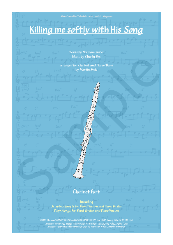 Killing me softly with his Song arranged for Clarinet and Piano/Band