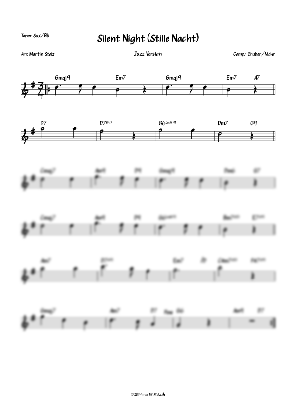 """""""Silent Night (Stille Nacht)"""" arranged for Tenor Saxophone and Band"""