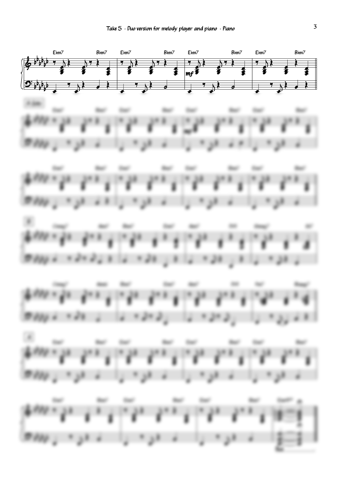 """""""Take 5"""" for Alto Saxophone and Piano"""