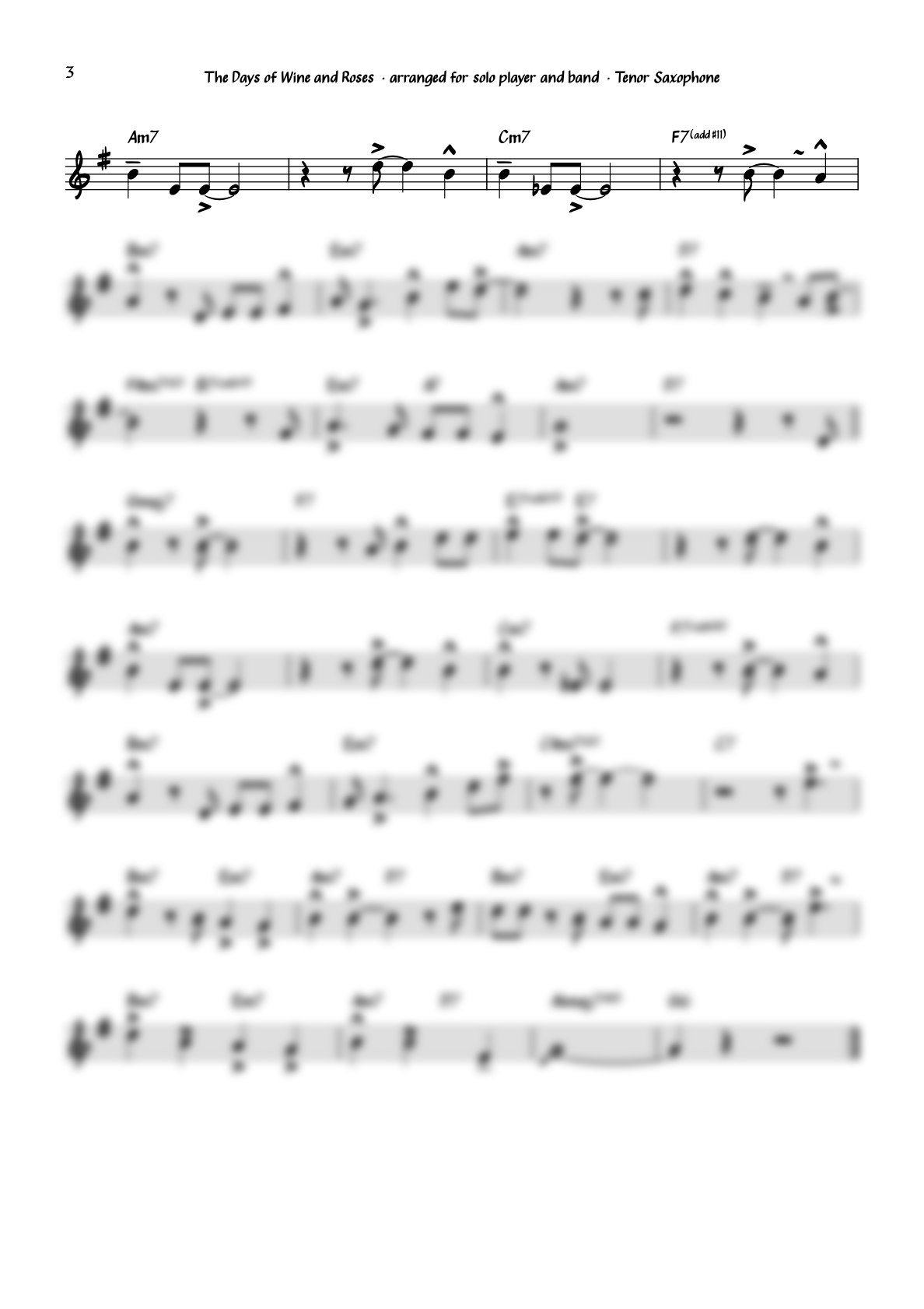"""""""The Days of Wine and Roses"""" for Tenor Saxophone including Solo Transcription"""