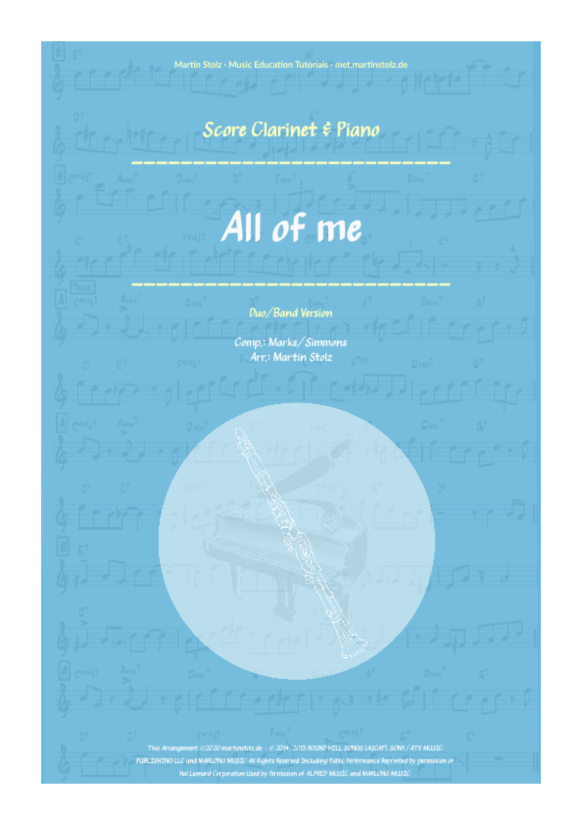 """All of Me"" for Clarinet and Piano"