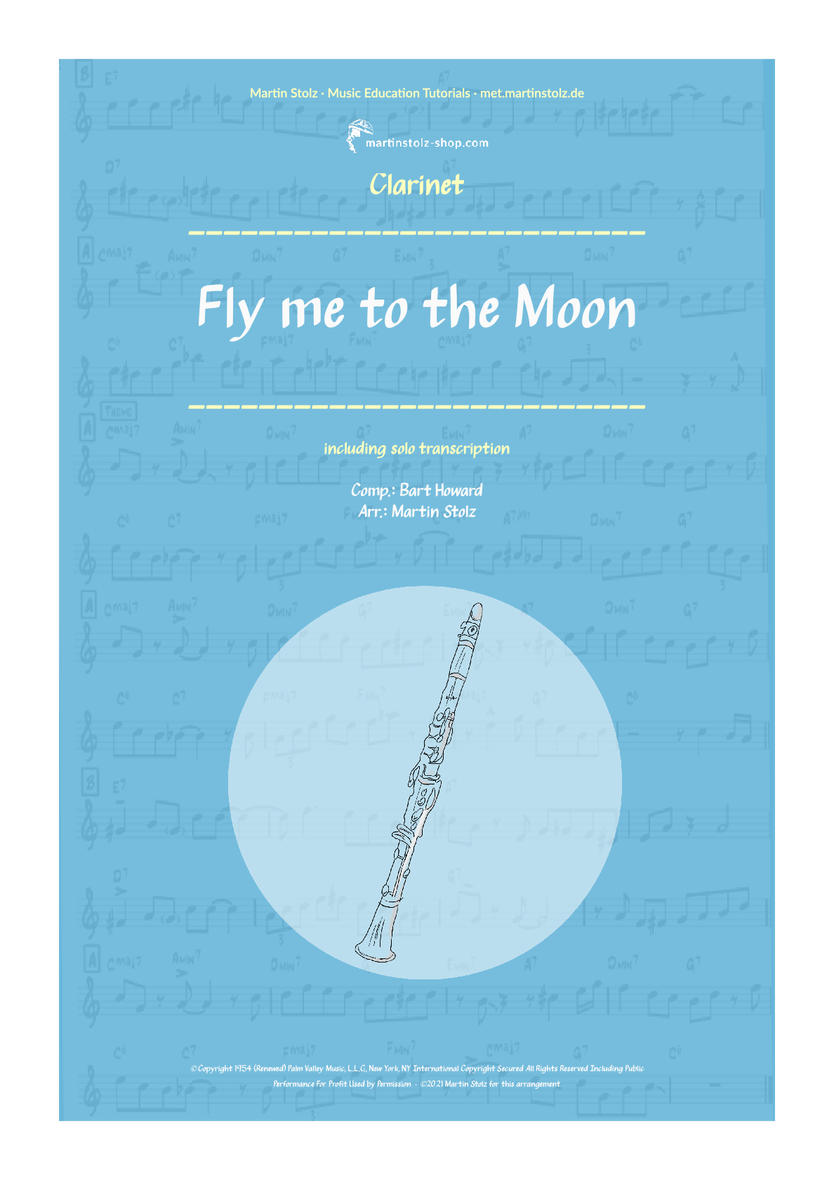 """""""Fly me to the Moon"""" for Clarinet including Solo Transcription"""