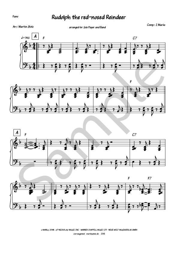 Rudolph the red-nosed Reindeer for Tenor Saxophone and Band