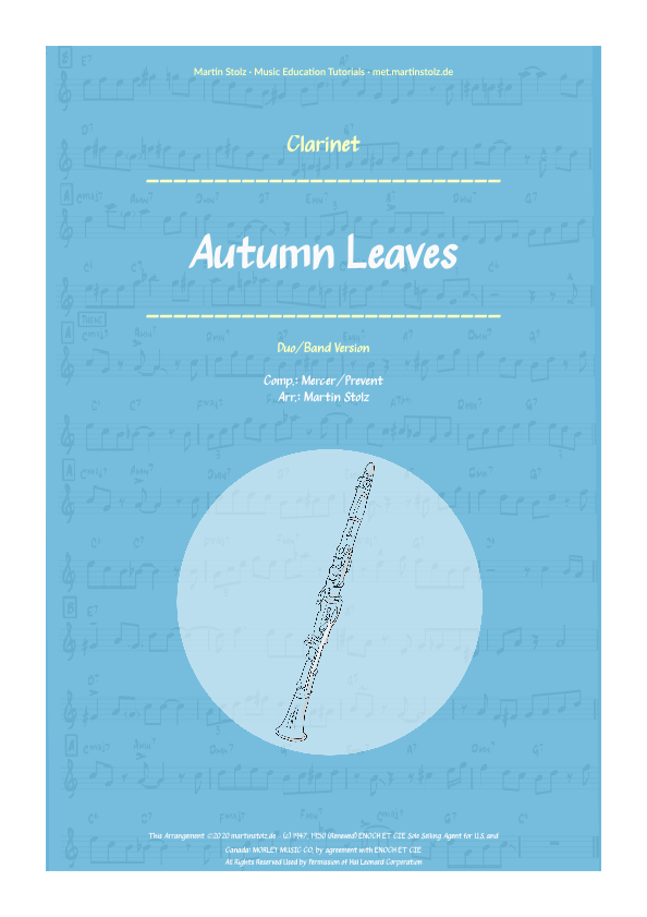 """Autumn Leaves"" for Clarinet including play-along (backing track)"