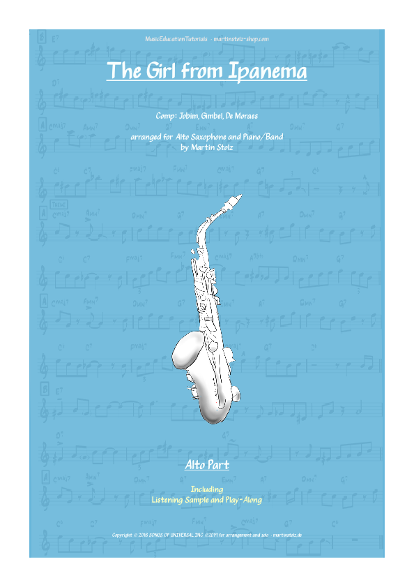 """""""The Girl from Ipanema"""" for Alto Saxophone including play-along"""