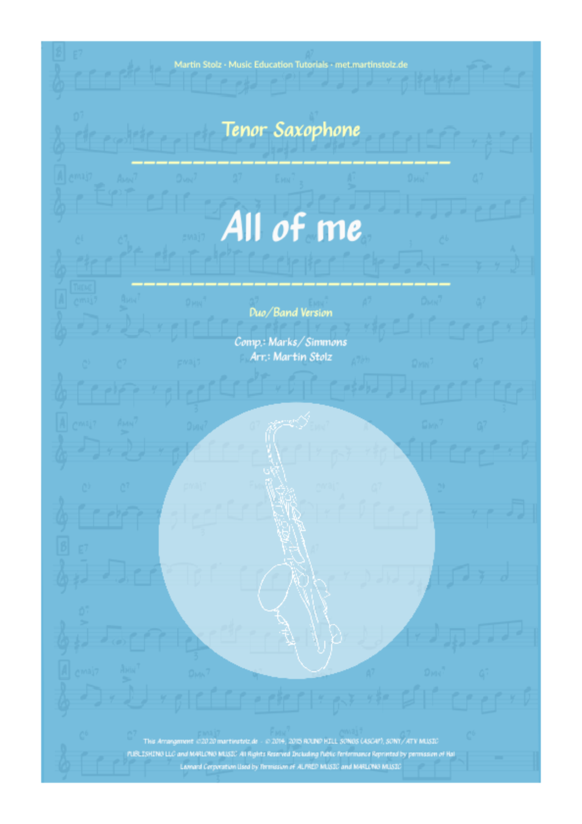 """All of me"" for Tenor Saxophone including play-along"