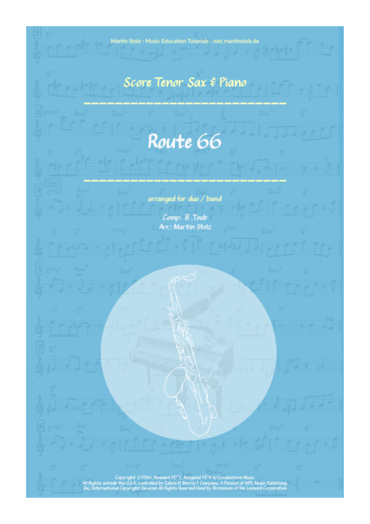 Route 66 for Tenor Saxophone and Band/Piano