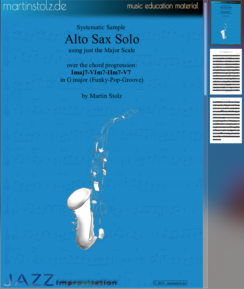 Sample Alto Saxophone Solo Transcription in G · Pop Style
