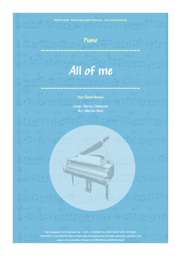 """""""All of Me"""" for Alto Saxophone and Piano"""