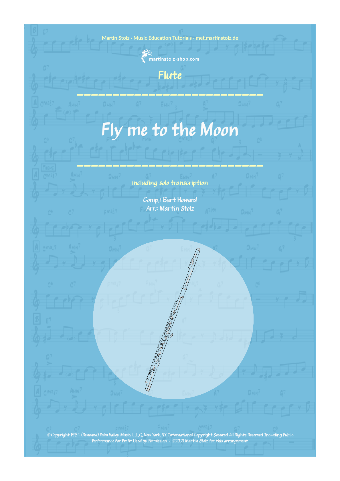 """Fly me to the Moon"" for Flute including Solo Transcription"