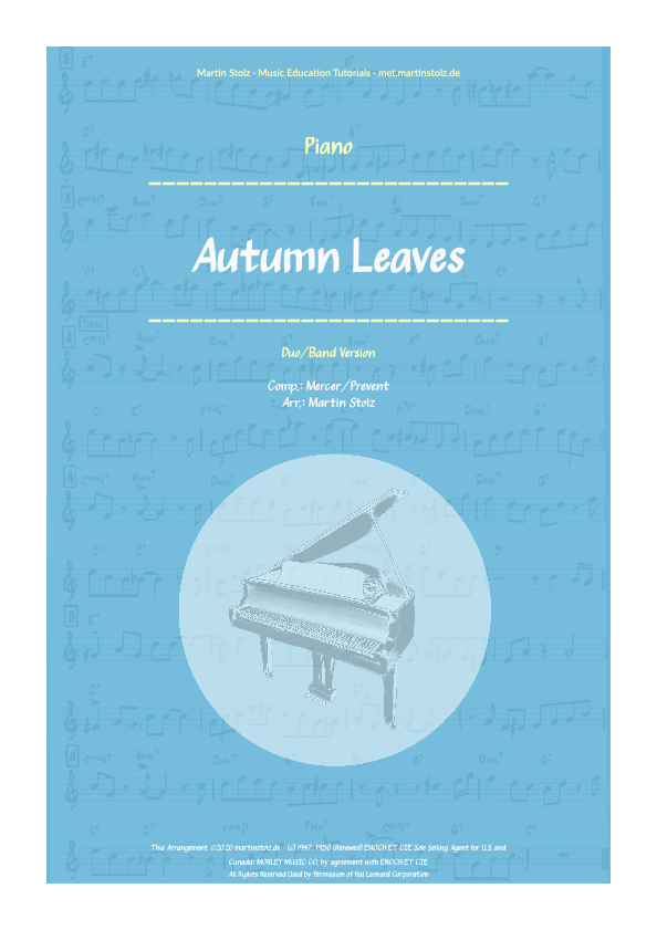 """""""Autumn Leaves"""" for Tenor Saxophone and Piano"""