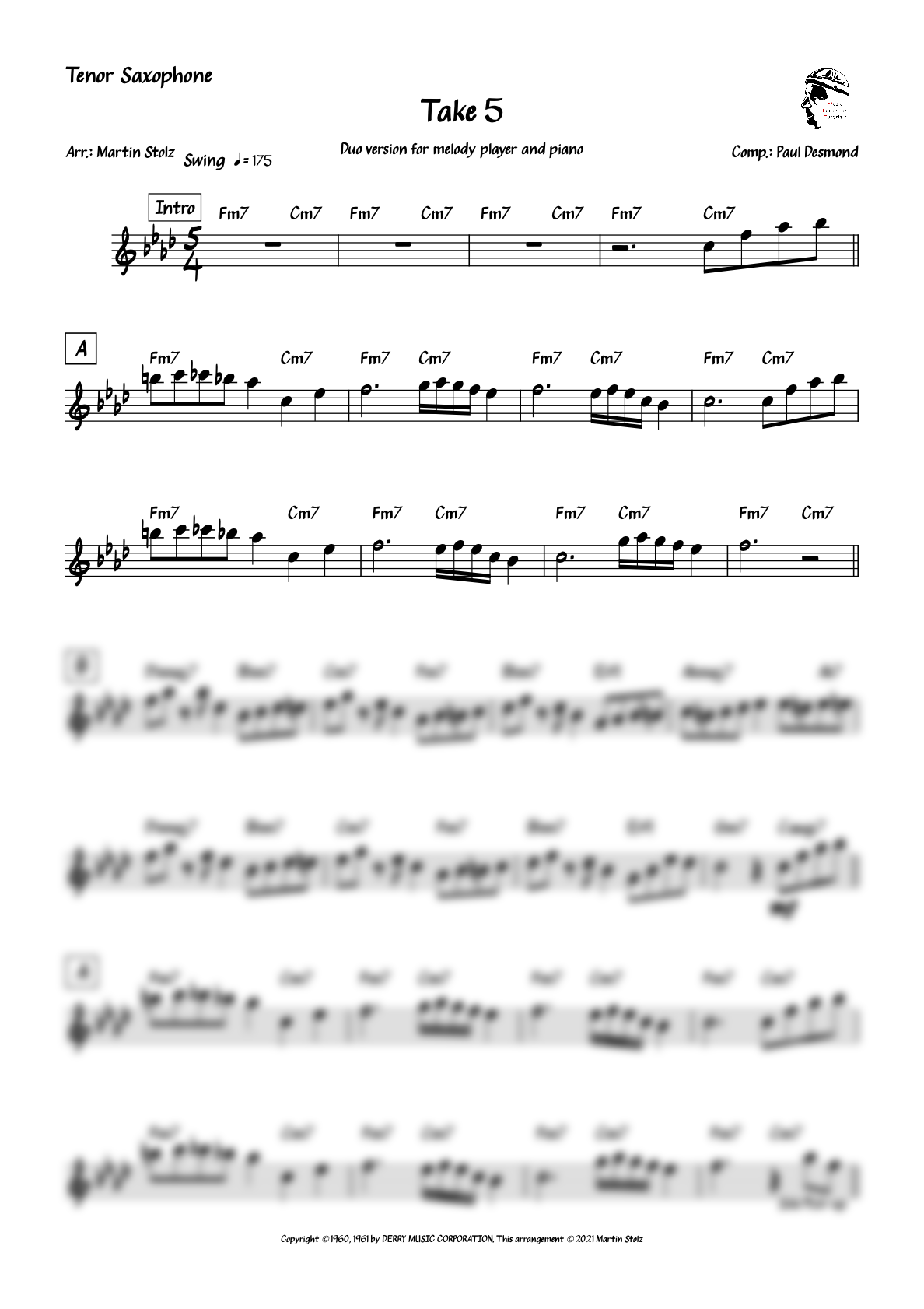 """""""Take 5"""" for Tenor Saxophone and Piano"""