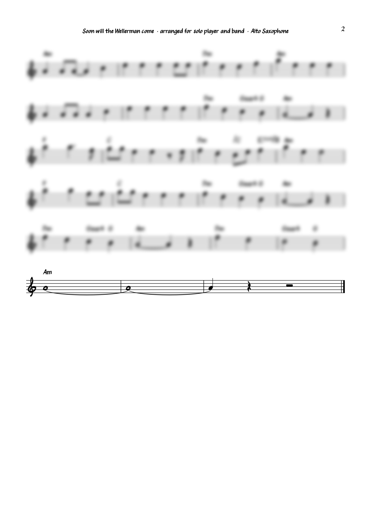 """""""Soon will the Wellerman come"""" for Alto Saxophone"""