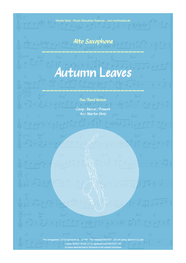 """Autumn Leaves"" for Alto Saxophone including play-along (backing track)"