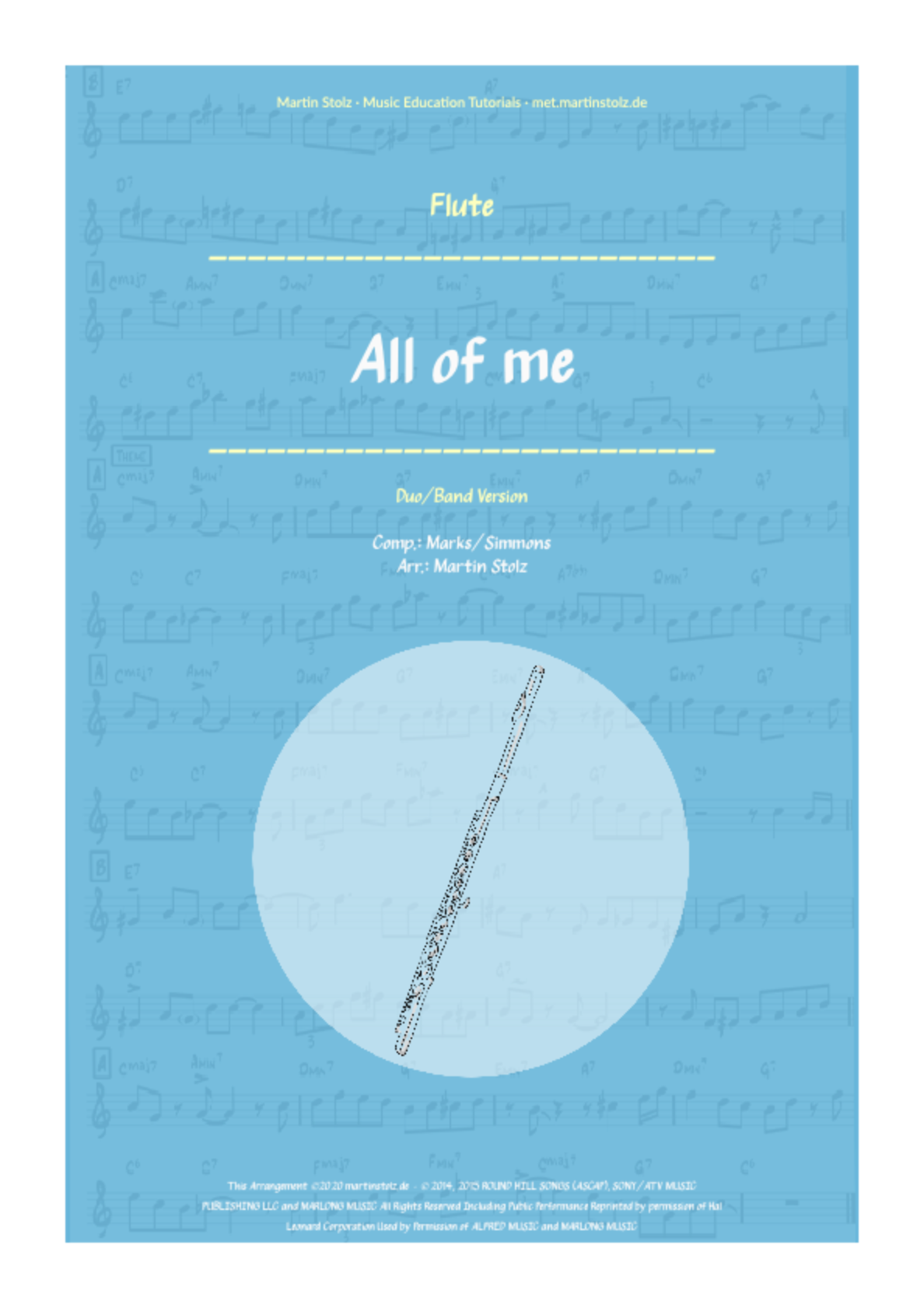 """""""All of me"""" for Flute including play-along"""