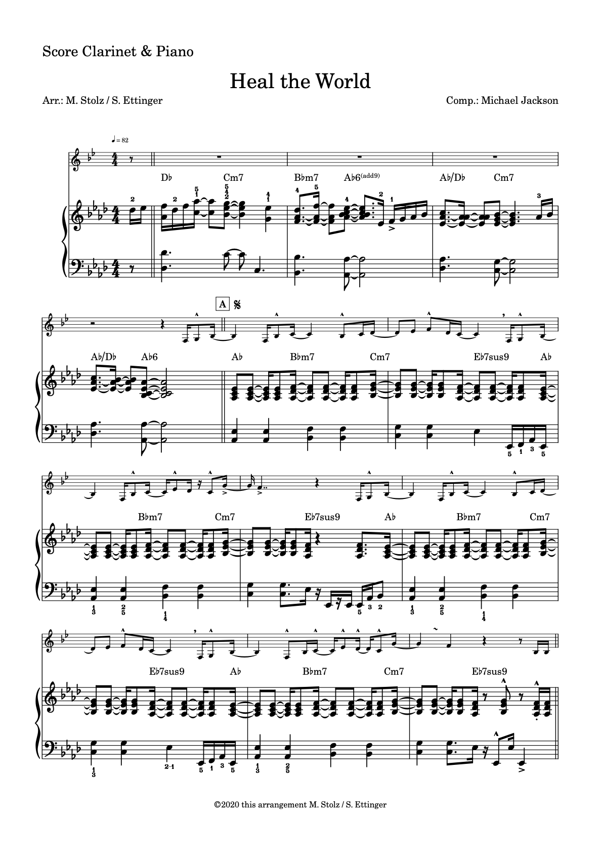 """""""Heal the World"""" for Clarinet and Piano"""