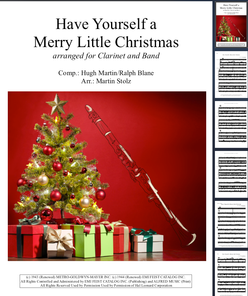 Have Yourself a merry little Christmas arranged for Clarinet and Band