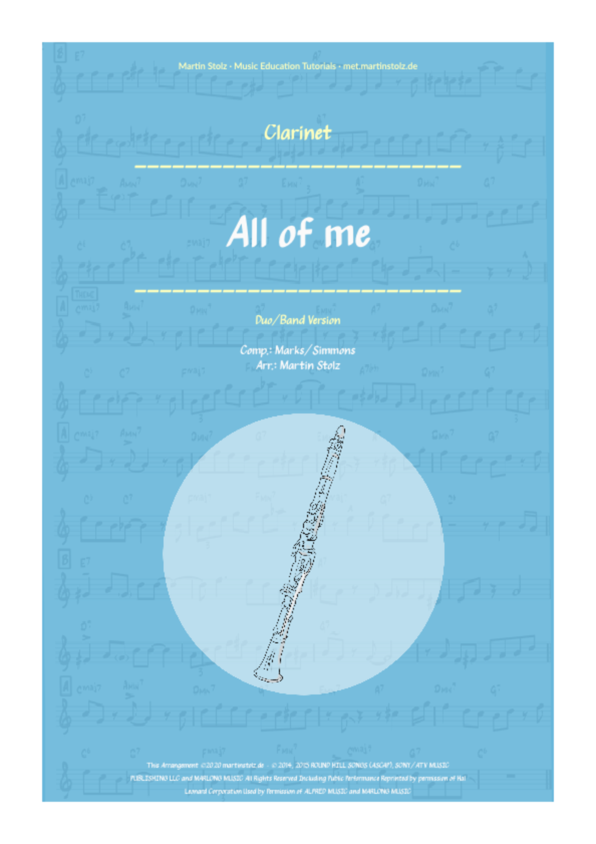 """All of me"" for Clarinet including play-along"