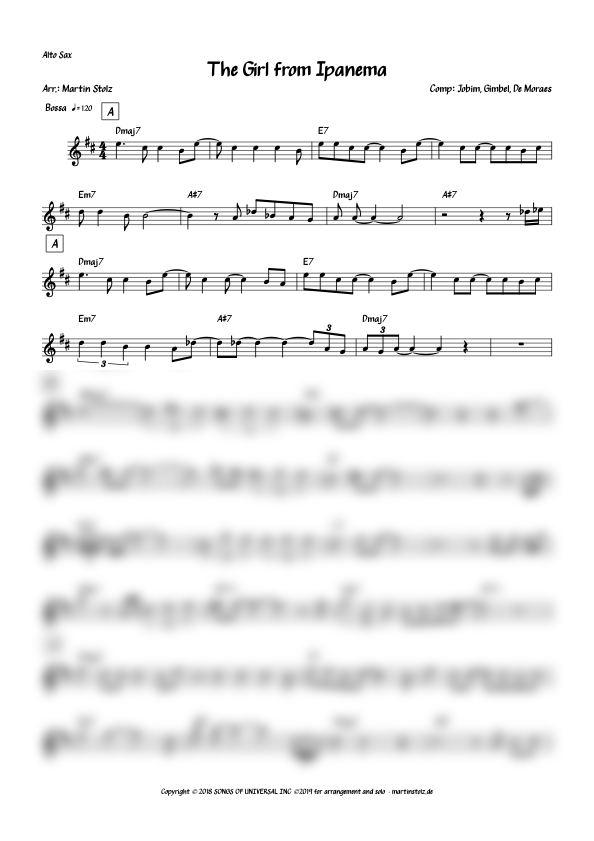 """""""The Girl from Ipanema"""" for Alto Saxophone and Piano"""