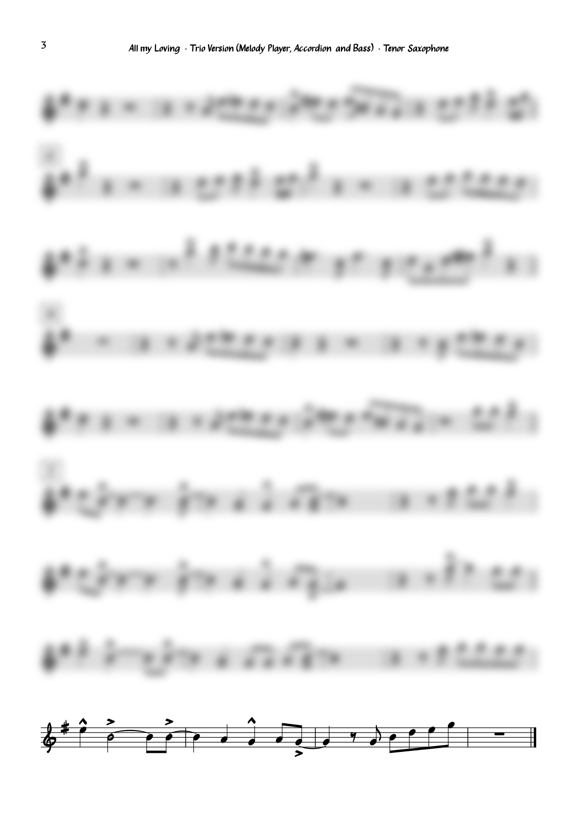 """""""All my Loving"""" for Tenor Saxophone · Swing Version for Tenor Sax, Accordion and Bass"""