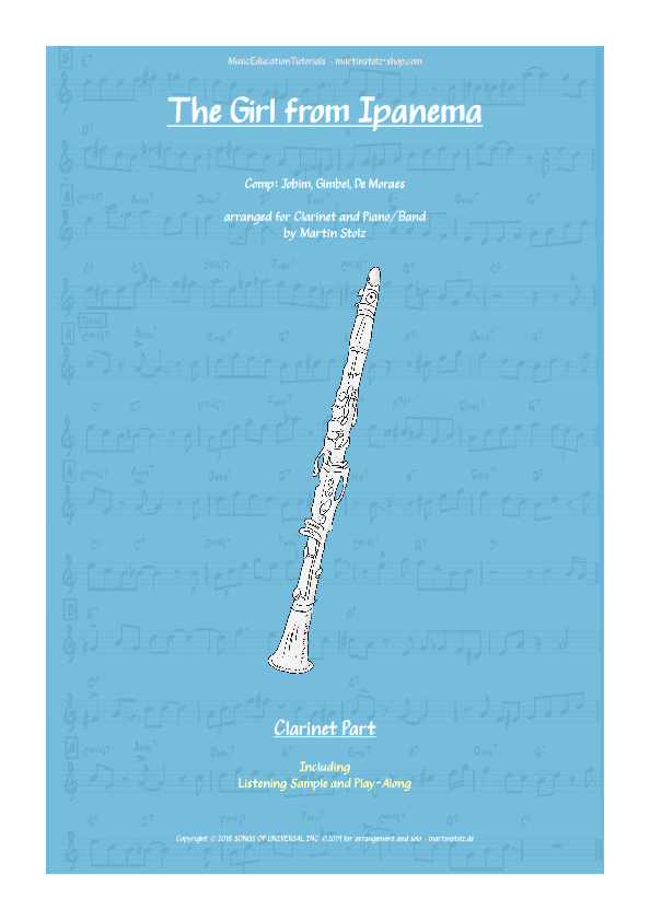 """""""The Girl from Ipanema"""" for Clarinet including play-along"""