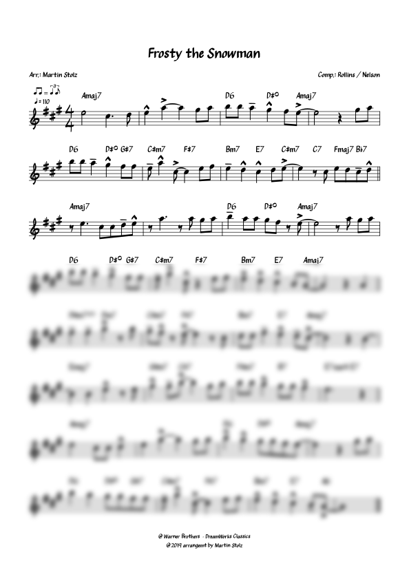 """""""Frosty the Snowman"""" for Alto Saxophone and Band"""