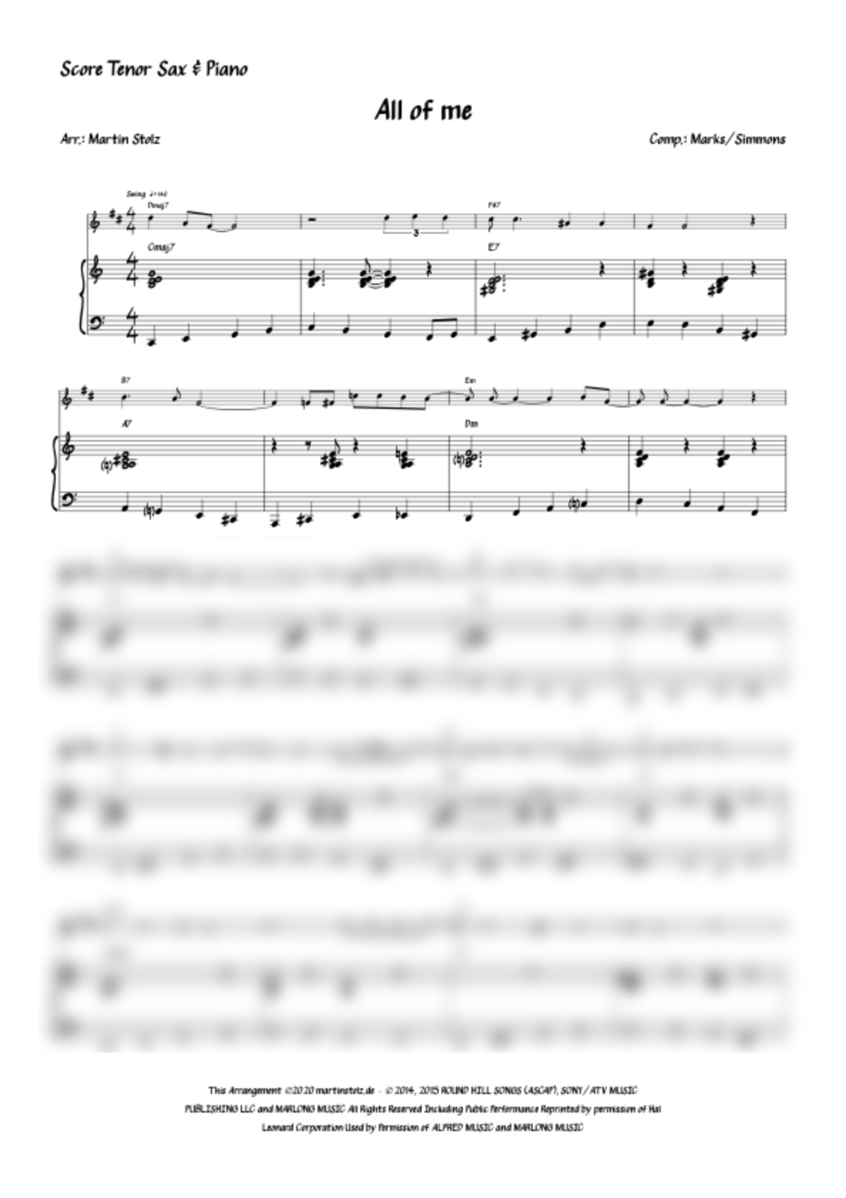 """""""All of Me"""" for Tenor Saxophone and Piano"""
