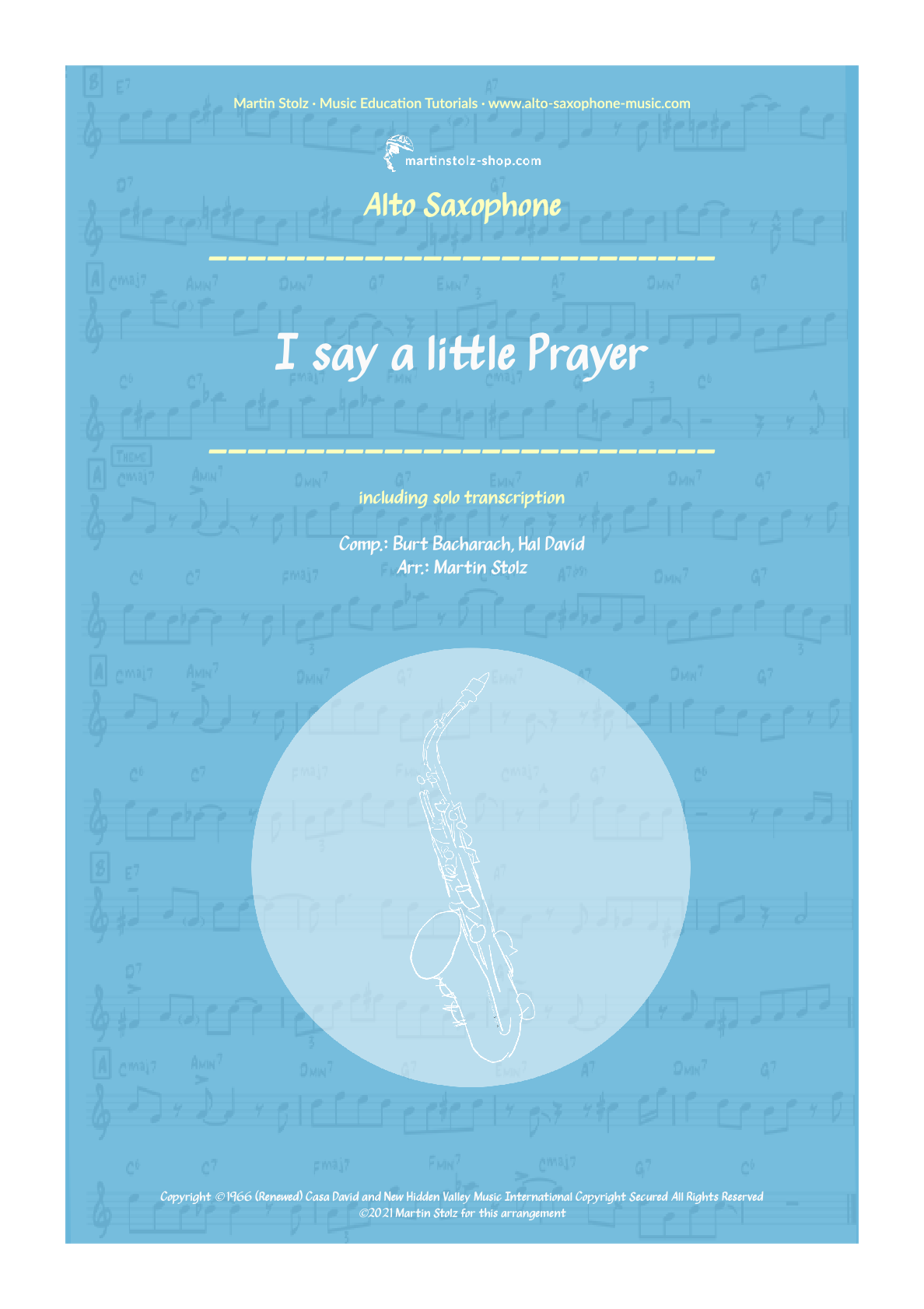 """I say a little Prayer"" for Alto Saxophone including Solo Transcription"