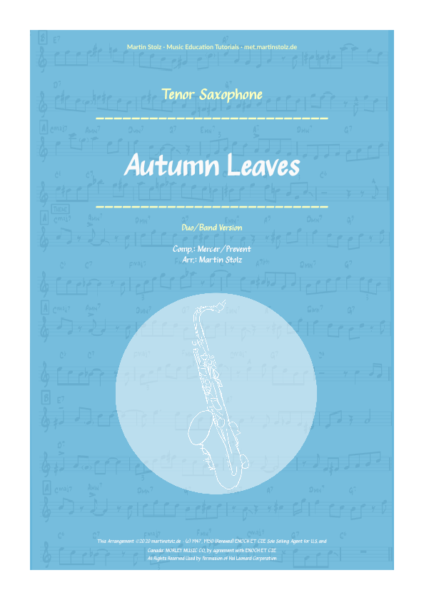 """""""Autumn Leaves"""" for Tenor Saxophone including play-along (backing track)"""