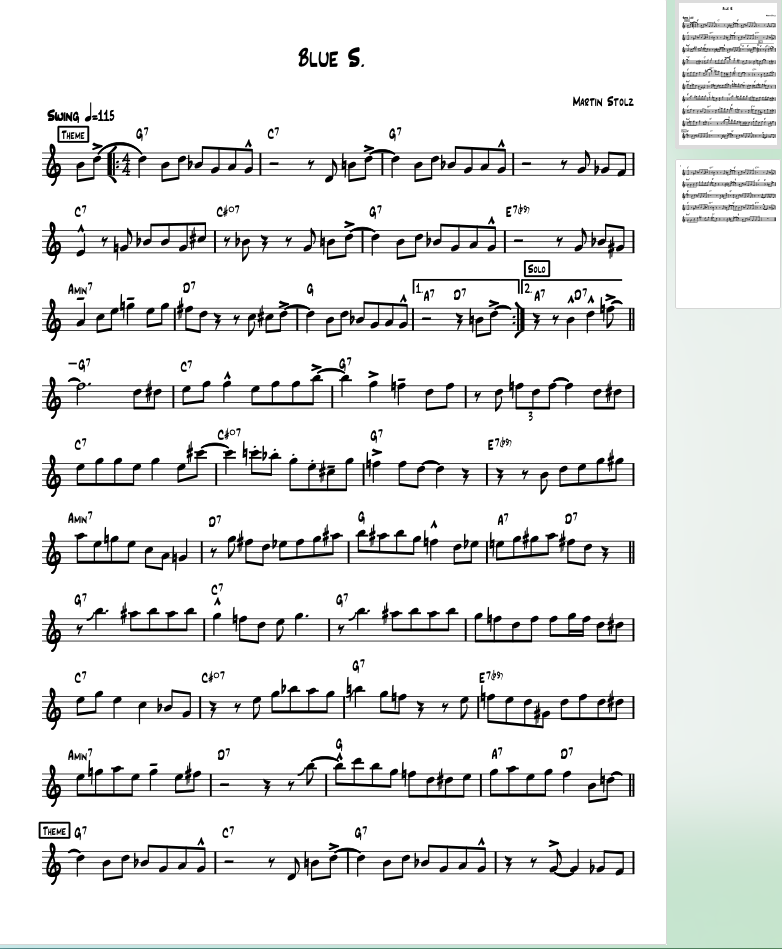 Blue S for Clarinet (Band/Duo Version)