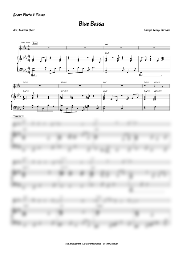 Blue Bossa for Flute and Band/Piano