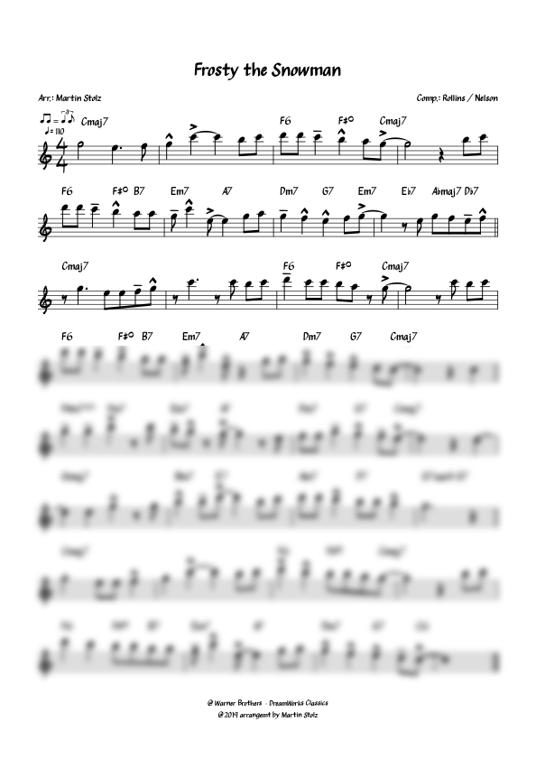 """""""Frosty the Snowman"""" for Flute and Band"""